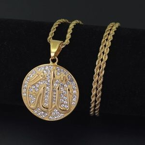 "Other - 14kGold Allah Medallion Pendant Necklace 24"" Chain"
